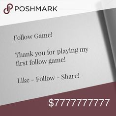 Follow Game! Like  Follow  Share  Repeat  Thank you for playing my first share game! Let's grow together! Vans Other