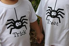 From my sister, who has a silhouette machine. I am not even sure what that is but she is welcome to make an extra set of shirts for her nephews next year. Halloween tees made with silhouette machine and heat transfer tshirt vinyl!