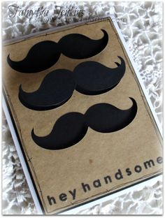 Time for another challenge at Heart 2 Heart . This week, it's all about mustaches. Create something that features mustaches. Valentine Cards, Valentines, Mustache Cards, Scrapbook Cards, Scrapbooking, Moustaches, Fathers Day Cards, Card Making Inspiration, Masculine Cards