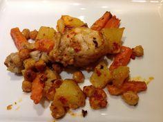 fırında tavuk havuç nohut ve patates