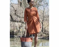 Orange Shirt dress, African shirt, African dress for women, elephant fabric dress for African women