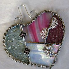 Valentine Heart Glass Heart Stained Glass Heart by GlassCat