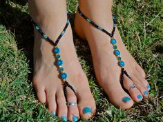 Black Teal and Gold Barefoot Sandals Slave Anklet by HouseOfBlaise, $16.00