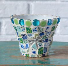 Mosaic Succulent Planter Vase with Dragonfly One of a Kind READY TO SHIP Mosaic Planters, Mosaic Flower Pots, Mosaic Garden, Planter Pots, Peace By Piece, Mosaic Bottles, Urn, Garden Pots, Mosaics