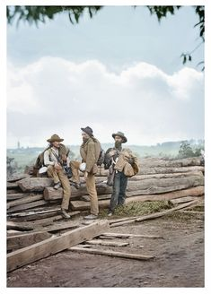 Three Confederate prisoners, Gettysburg. (Colorized Photo) 1863.