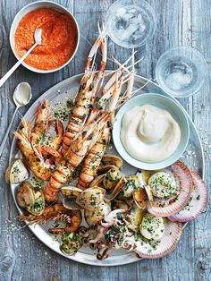 Char-grilled seafood platter with romesco and aioli sauce. A great family style/share plates idea for fresh, summer wedding food