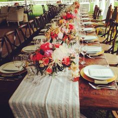 Oatlands Historic House & Gardens- Beautiful head table; Seen under the reception tent on the front lawn; Florals by Holly Chapple Flowers; farm tables; outdoor rustic chic wedding.