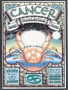 Cancer gemstone card -- Each card measures 51/4 x 71/4 and includes an actual semi-precious stone, plus a guide to usingits power.Each card includes personal: Dates, Number, Color, Element, Herb, Gemstone, Planet, Sign, Characteristics