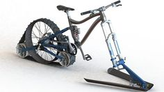 The bike uses a rear track drive and front ski setup -- Quebec students aim to develop a more authentic snow bike
