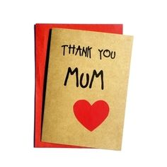 Mothers Day Card - Thank you mum - Handmade Card