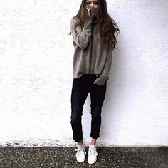 Oversized Grey Sweater: Black Cuffed Jeans: Paired w/ White High Top Sneakers @taytayla9