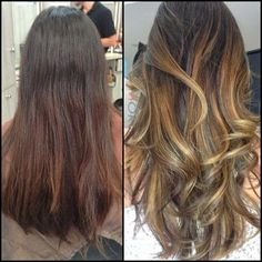Before and Afte: Full head of balayage highlights