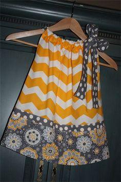 Yellow & Gray Chevron  Pillowcase Dress : Cute mix of chevron, dots and floral prints!   $29
