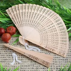 Wooden Sandalwood Hand Fan Favors - keep your guests from melting in the summer sun at your outdoor wedding!