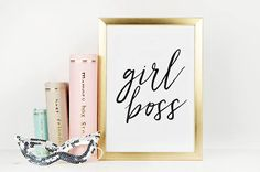 GIRL BOSS ART Like A Boss Office SignOffice Wall ArtQuote