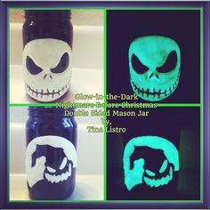 Glow-in-the-Dark Double Sided Nightmare Before Christmas Mason Jar by, Tina Listro