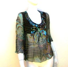 Brown Silk Top Retro Beaded Nuno Felted by juliaheartfelt on Etsy, $129.00