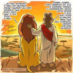 Jesus and a lion Jesus Cartoon, Instagram King, King Jesus, Christian Memes, Jesus Freak, Jesus Loves Me, Kids Church, Jesus Saves, Dear God