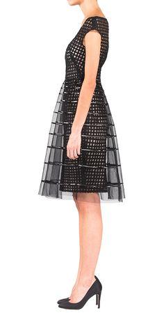 Lela Rose - striped tulle overlay dress
