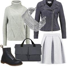 Studentessa in grigio  outfit donna Urban per scuola universit  e tutti i  giorni  47b770d5faf
