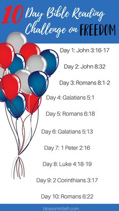 Printable 10 Day Bible Reading Plan. Powerful bible verses about freedom. Perfect for Memorial Day & the Fourth of July.