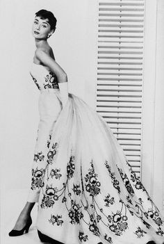 Audrey Hepburn wearing the iconic Givenchy dress from Sabrina.
