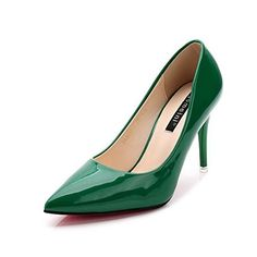 AalarDom Women's Pointed Closed Toe Spikes Stilettos Pumps-Shoes, Green-Patent Leather, 37 for sale Stiletto Pumps, Stilettos, Heels, Pump Shoes, Patent Leather, Spikes, Green, Stuff To Buy, Amazon