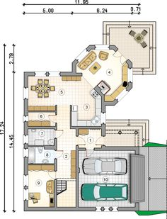 Rzut Mój Dom Oliwka CE Modern Bungalow House Plans, 2bhk House Plan, Round House, House Extensions, Floor Plans, Flooring, How To Plan, Apple Press, Projects