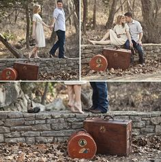 Engagement photos - I love the picture with the bride on her tippy toes. So cute!