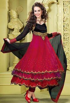 Red Net Sequins and Thread Work Long Designer Anarkali Salwar Suit 25235