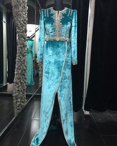 Turquoise Moroccan caftan by Romeo #moroccancaftan