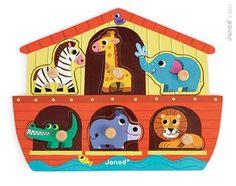Puzzle de 6 pièces à tenons en bois.Chaque pièce représente un animal : éléphant, girafe, zèbre, crocodile, lion, hippopotameDimensions : 27.5 x 21.5 x 2.3 cm