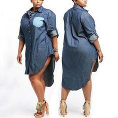 "Sexy Turndown Collar Long Sleeves Blue Denim ""Plus Size"" Mini Women Dress Big Girl Fashion, Curvy Fashion, Plus Size Fashion, Dope Fashion, Cheap Fashion, Womens Fashion, Demin Dress, Shirt Dress, Plus Size Dresses"