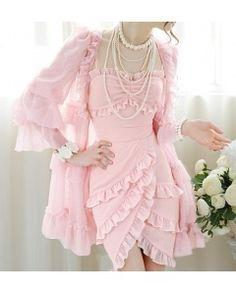 New style pink multilayer falbala chiffon sleeveless dress