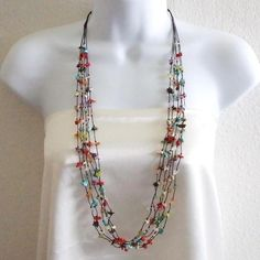 Cotton Multicolor Gemstone Layered Long Necklace (Thailand) | Overstock.com Shopping - The Best Deals on Necklaces