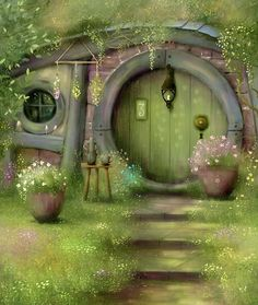 Fantasy Forest, Fantasy World, Fantasy House, Casa Dos Hobbits, Fantasy Art Landscapes, House On The Rock, Fairy Doors, Fairy Art, Fairy Houses