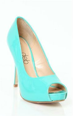 Deb Shops #mint peep toe patent #pump $27.90