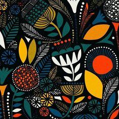 Regran from - Door Midnight Garden Motifs Textiles, Textile Patterns, Print Patterns, Textile Pattern Design, Tribal Patterns, Floral Patterns, Floral Motif, Illustration Blume, Pattern Illustration