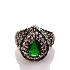 The Zerbap Mefkure Ring with Zircon Emerald Stones by Rosestyle, $42.50