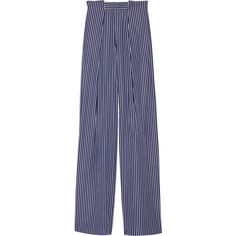 Tod's Striped cotton-poplin wide-leg pants ($895) ❤ liked on Polyvore featuring pants, navy blue pants, high-waisted pants, high-waist trousers, blue pants and navy wide leg pants