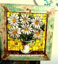 Solange Piffer. Mosaic still life flowers coming out of teacup and saucer...glorious!