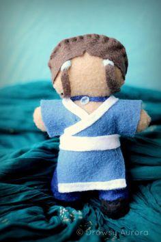 Collectible Felt Doll, Hand Sewn - Katara - Cartoon Character - Plush Miniature Figurine - by Drowsy Aurora on Etsy
