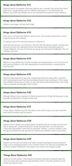 Things About Slytherins 31-40