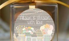 Rustic Mason Jars Wedding Personalised Macaron Boxes (Set of 10)