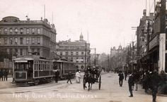 Foot of Queen Street, Auckland in about Postcard by Industria Series ~ 781 F. My Family History, Kiwiana, Auckland, Historical Photos, New Zealand, 19th Century, Africa, Street View, Australia