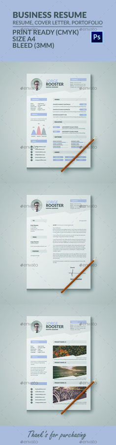 Business Resume Design Template - Resumes Stationery Design Template PSD. Download here: https://graphicriver.net/item/business-resume/19313635?ref=yinkira