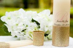 Blush and Gold Glitter Personalized Unity Candle Set