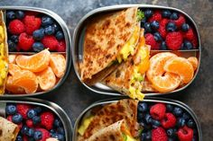 Ham, Egg, and Cheese Breakfast Quesadillas   Hachette Book Group Yummy Eats, Yummy Food, Fresh Ham, Good Healthy Recipes, Easy Recipes, Healthy Carbs, Meal Prep Containers, Eat Breakfast, Breakfast Ideas
