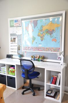 DIY desk with a hollow core door and some cube storage . - DIY desk with a hollow core door and some cube storage des - Cube Storage Unit, Desk Storage, Kids Storage, Bedroom Storage, Cube Unit, Storage Ideas, Furniture Storage, Diy Storage Cubes, Bedding Storage