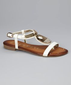 Take a look at this White Canadian Crystal Sandal by Henry Ferrera on #zulily today! $20